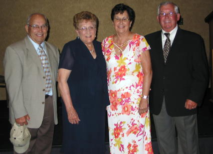 From left to right: John Fox and his wife, Jean and Clara Mae Fox with husband, Darwin,